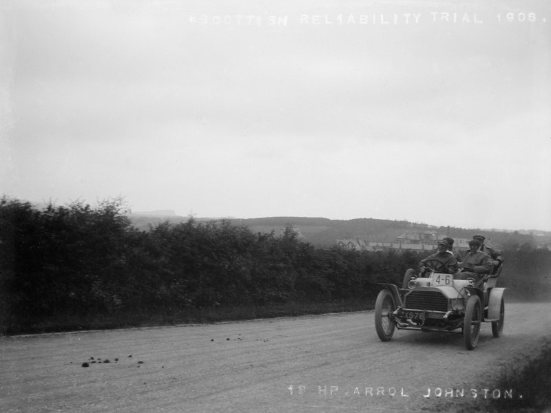 Scottish Reliability Run, 18 hp Arrol Johnston motor car, from Mr Monrgomerie's family album. Mr Kenneth Montgomerie's  grandfather (John Cunninghame Montgomery) was a car enthusiast.