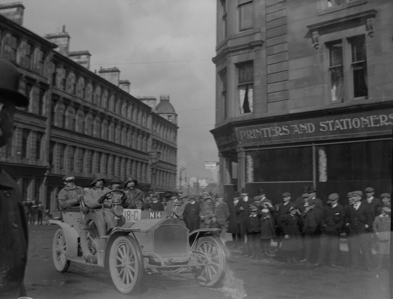 Car Rally, ?Glasgow: from Mr Monrgomerie's family album. Mr Kenneth Montgomerie's  grandfather (John Cunninghame Montgomery) was a car enthusiast.
