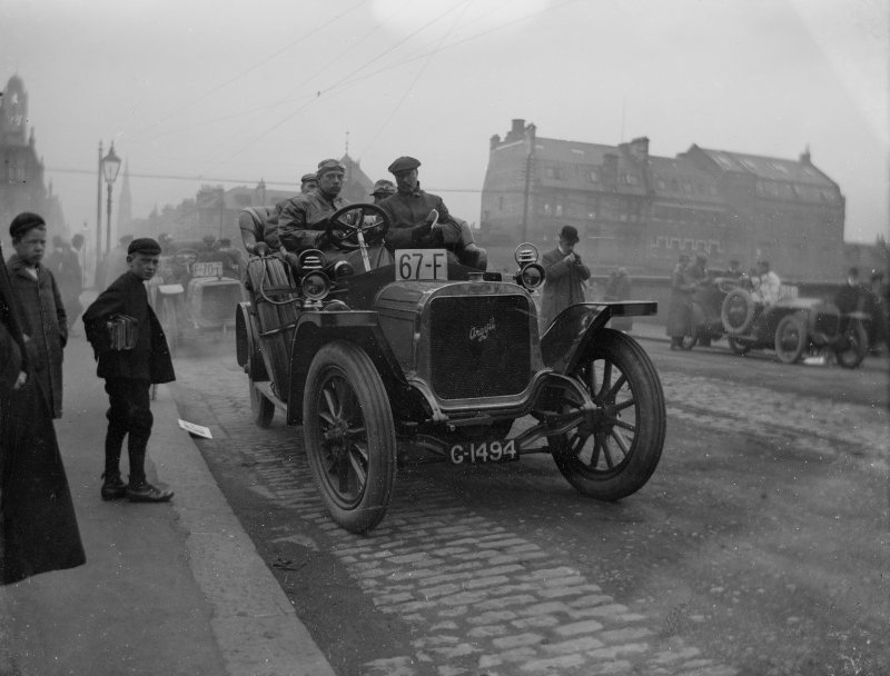 Car Rally, ? Glasgow: from Mr Monrgomerie's family album. Mr Kenneth Montgomerie's  grandfather (John Cunninghame Montgomery) was a car enthusiast and owned Arrol Johnston 18 hp, built at the Paisley factory prior to its move to Heathall in Dumfries