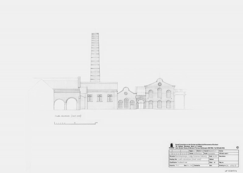 Lady Victoria Colliery: South elevation (East end)
