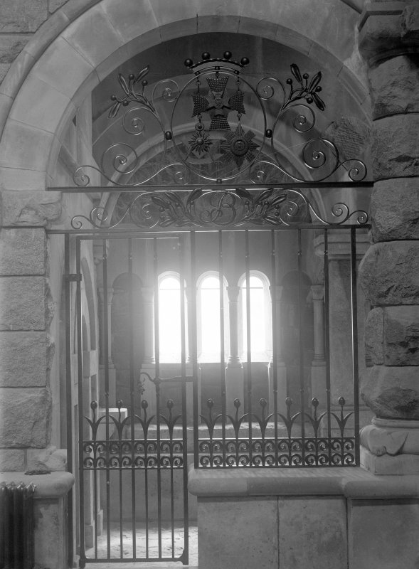 View of wrought iron screen from St Bride's Chapel, at St Conan's Church, Lochawe.