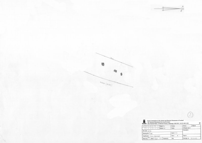 Survey drawing; Dyke, stone alignment