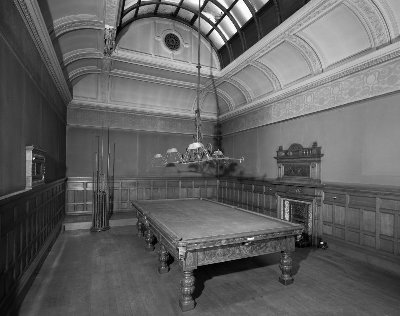 Glasgow, 6 Rowan Road, Craigie Hall, interior. View of billiard room from South-East.