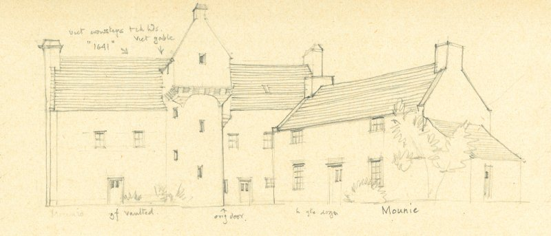 Drawing of Mounie Castle. Detail taken from drawing of buildings in the parish of Daviot.