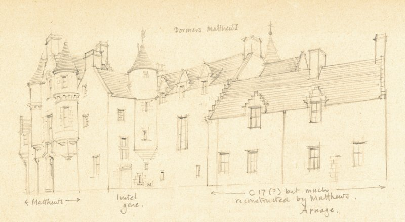 Drawing of Arnage Castle. Detail taken from drawing of buildings in the parish of Ellon Landward.