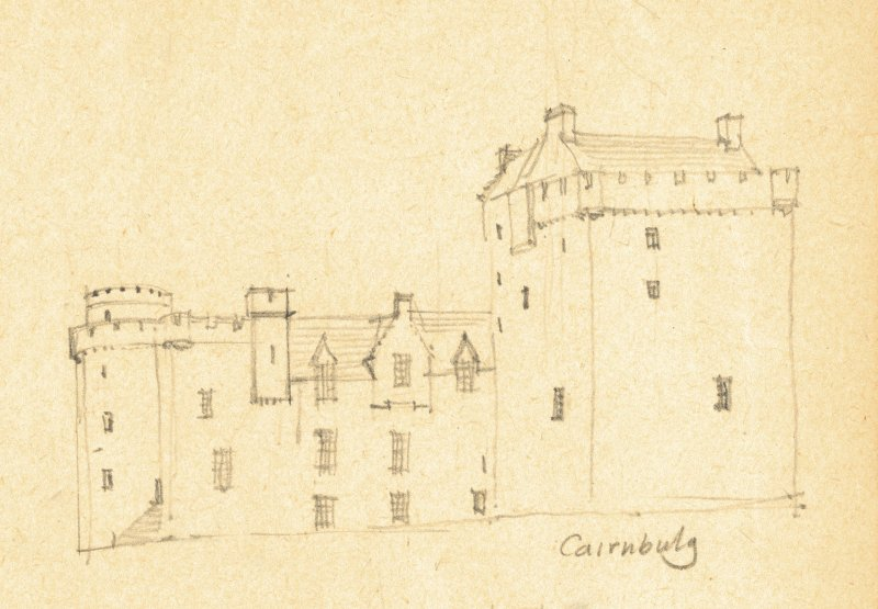 Drawing of Cairnbulg Castle. Detail taken from drawing of buildings in the parish of Rathen.