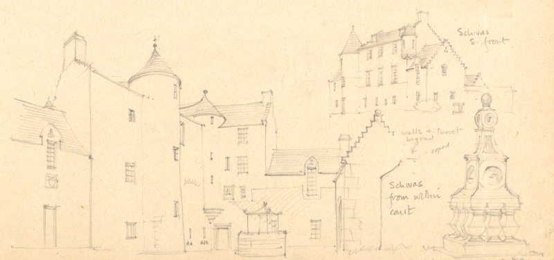 Drawing of House of Schivas. Details taken from drawing of buildings in the parish of Tarves.