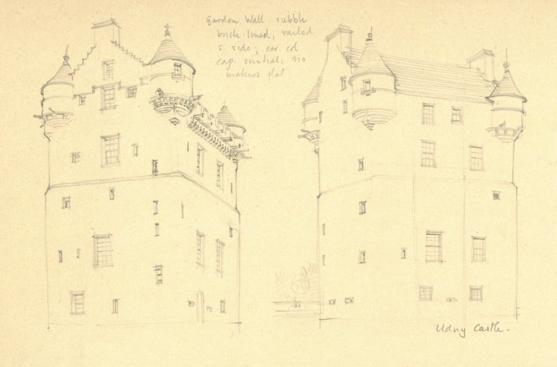 Two pencil drawings of Udny Castle. Detail taken from drawing of buildings in the parish of Udny.