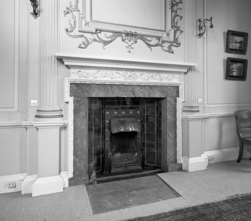 Interior. Detail of first floor SE room fireplace.