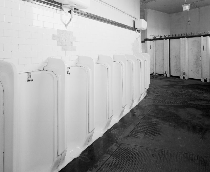 Interior. View of urinals made by South Hook Potteries of Kilmarnock.