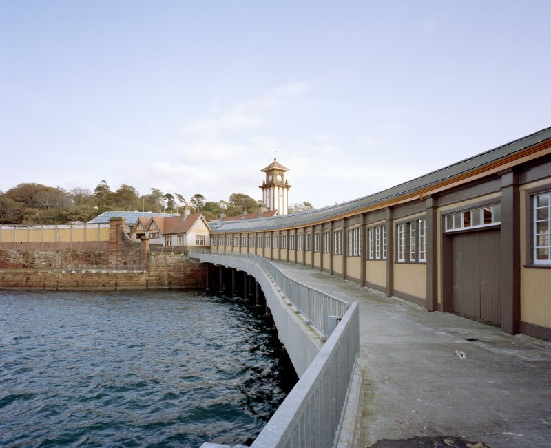 View of north side of covered walkway to ferry fro West.