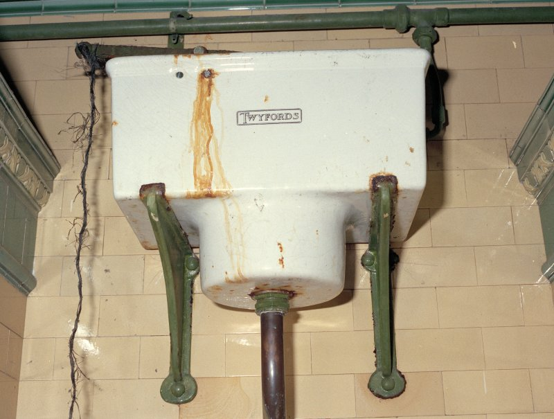Detail of Twyfords cistern above 'The Deluge Adamant' water closet.  Photosurvey 9-OCT-1991