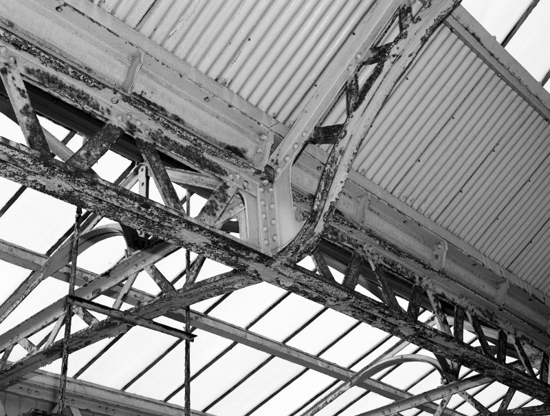 Interior. Detail of canopy steel work.