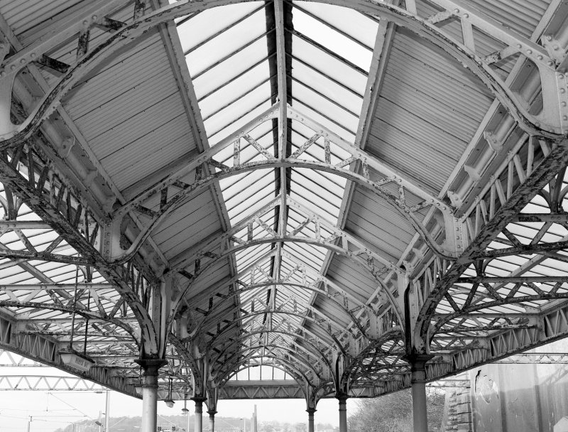 Interior. Detail of underside of canopy and fabricated steel framework.