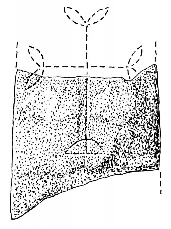 Measured drawing of cross-incised fragment, Skaill, Deerness
