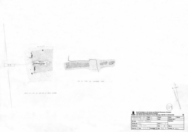 Survey drawing; Plan of Windy Edge chambered cairn and detail of chamber