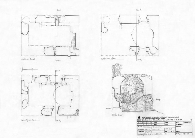 400dpi scan of DC32485 Plan of Torthorwald Castle