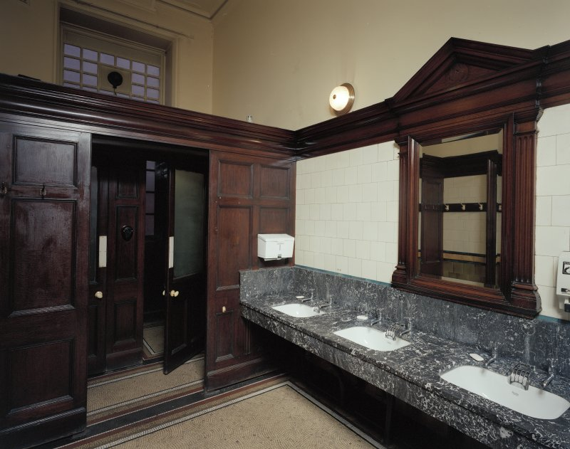 Glasgow, 1030-1048 Govan Road, Shipyard Offices, interior View of marble wash basins in gentleman's cloakroom in office building.