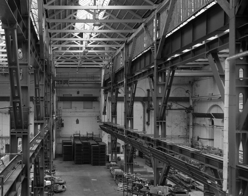 Glasgow, 1048 Govan Road, Fairfield Engine Works, interior General view of East aisle and machine-hall.