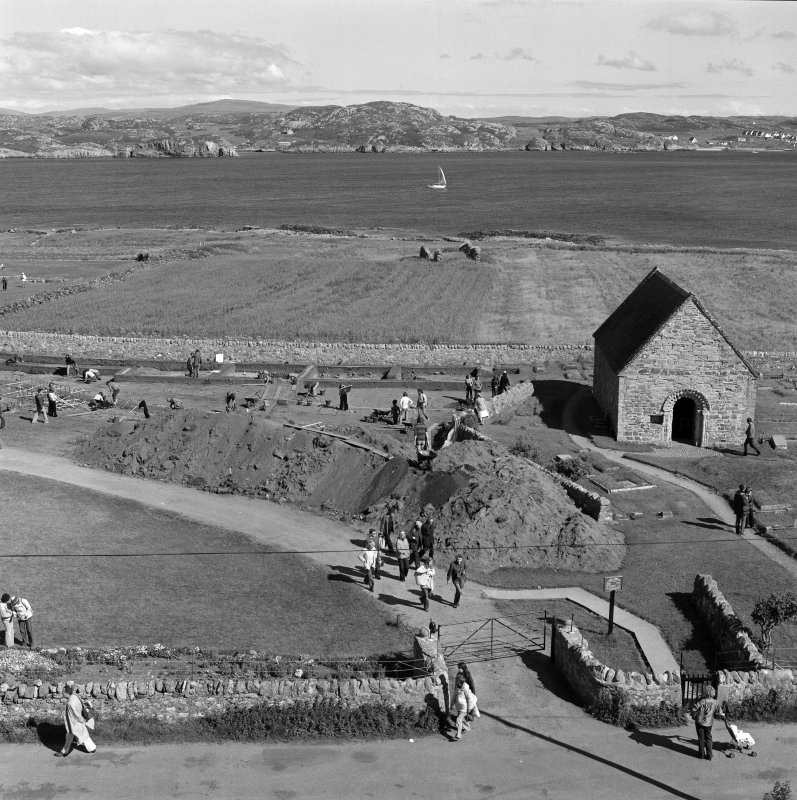 Iona, St Oran's Chapel & Reilig Odhrain. View of excavation from West.