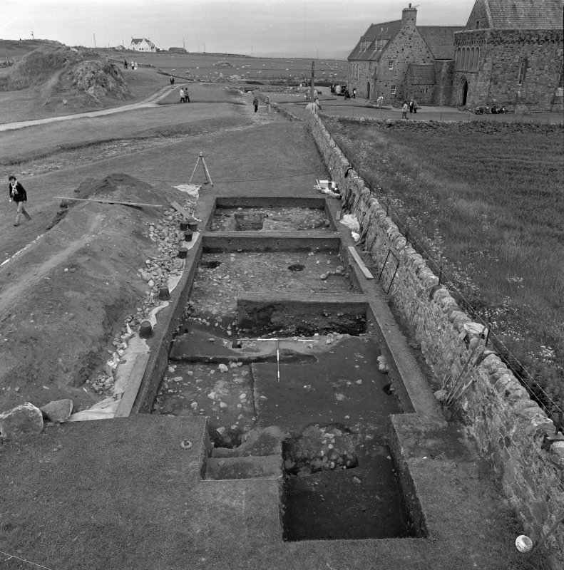 Iona, Reilig Odhrain & Iona Monastery Vallum. View of excavation from South showing trenches A B C with the vallum ditch in foreground  and an earlier ditch behind.