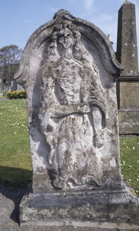 View of headstone to Margaret Smibert d. 1890,  St Andrew's Church graveyard, Peebles.