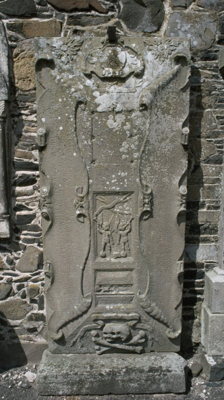 View of wall monument on south wall of tower, St Andrew's graveyard, Peebles.