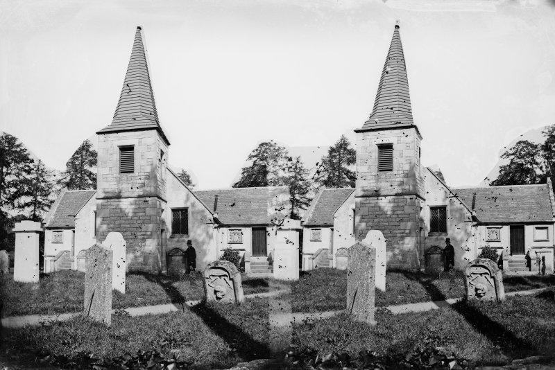 Stereoview of Glencorse Church and Graveyard.