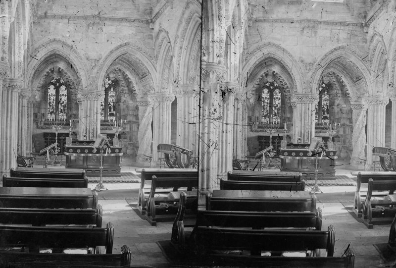 Stereoview of the interior of Roslin Chapel.