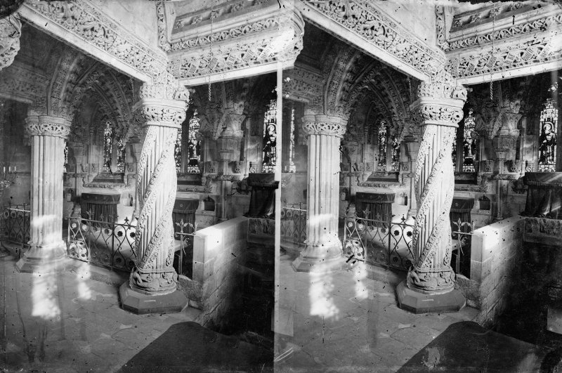 Stereoview of the interior of Roslin Chapel featuring the Apprentice Pillar.