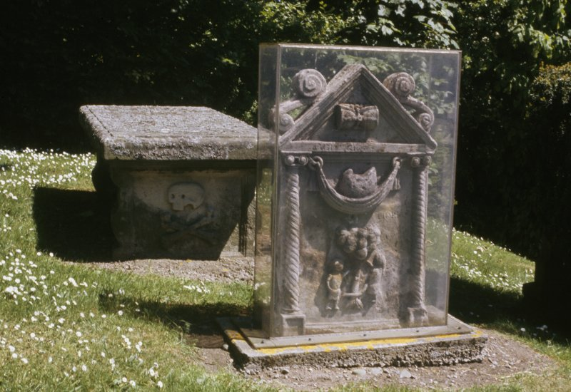 View of headstone to Janet Veitch d. 1712, Lyne Churchyard.