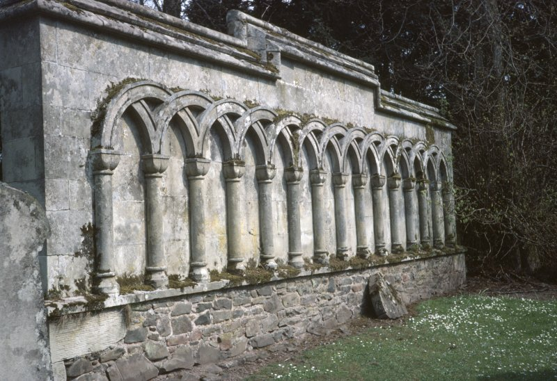 View of arched decoration on side wall of tomb, Longformacus Churchyard.