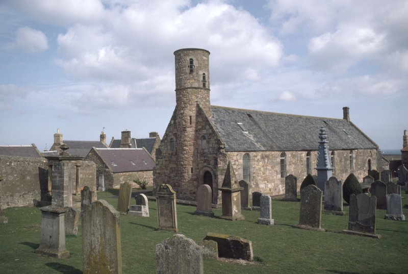 General view of church and churchyard, Cockburnspath .