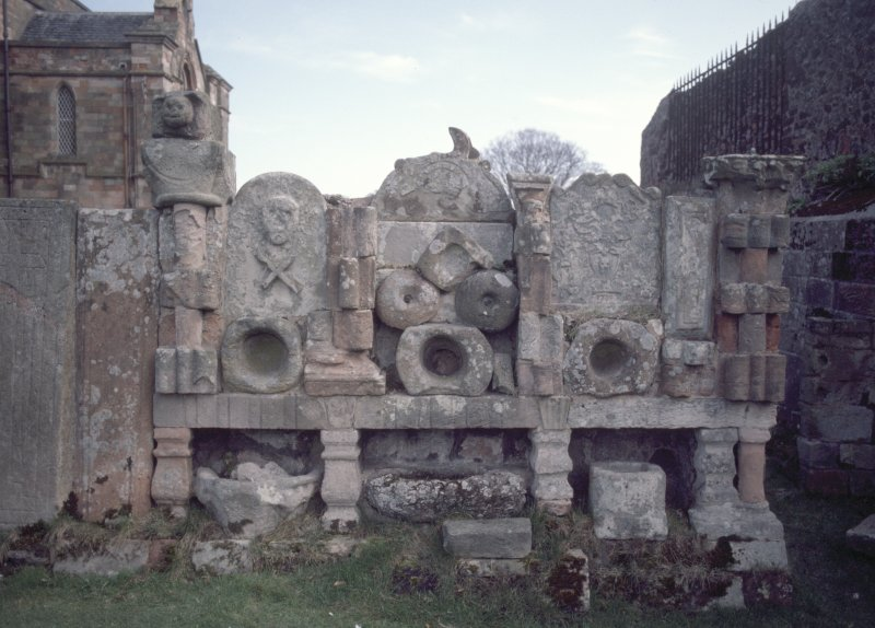 General view of carved stones from Abbey ruins, Coldingham.