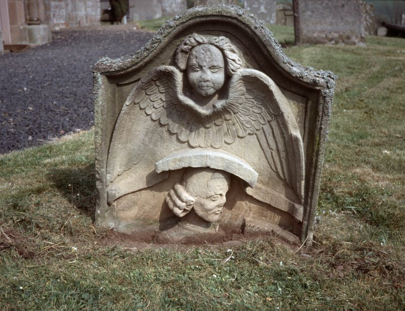 View of headstone to George Gray d. 1762, Legerwood Parish Churchyard.