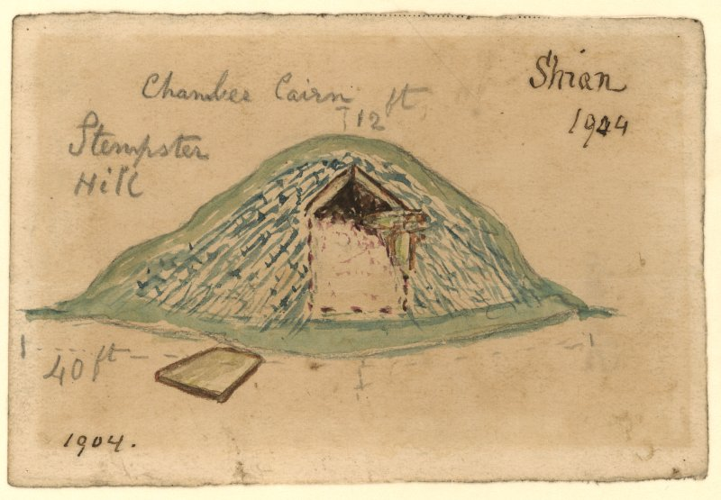 Drawing of cairn excavation with measurements. Titled 'Shian 1904' and 'Stempster Hill'. Verso: 'Stempster'.