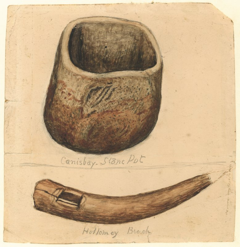 Watercolour drawing of an artefact titled ' The Canisbay Stone Pot' and a possible bone object titled ' Hollomey Broch' by John Nicolson