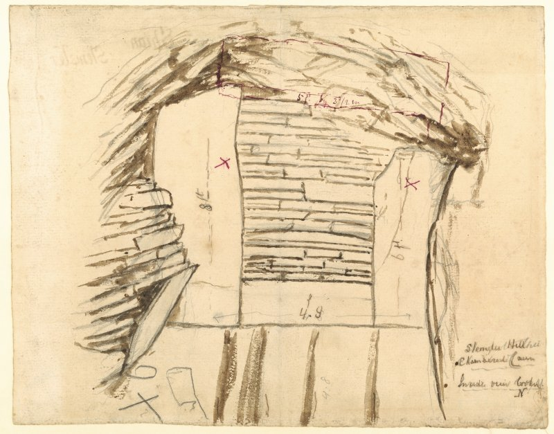 Drawing of chamber with measurements. Annotated ' Stempster Hill Chambered Cairn Inside ruin looking N'. Verso: 'Shian Stempster 1904'
