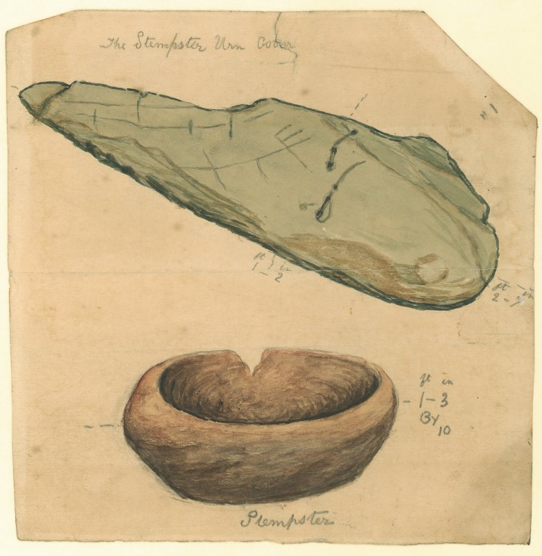 Watercolour drawing of two objects from excavation at Stempster, one a bowl and the other annotated 'The Stempster Urn Cover'. Verso: '05 Stempster Urn Cover'.