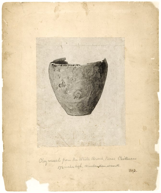 Drawing of clay vessel from the White Broch, Keiss, Caithness