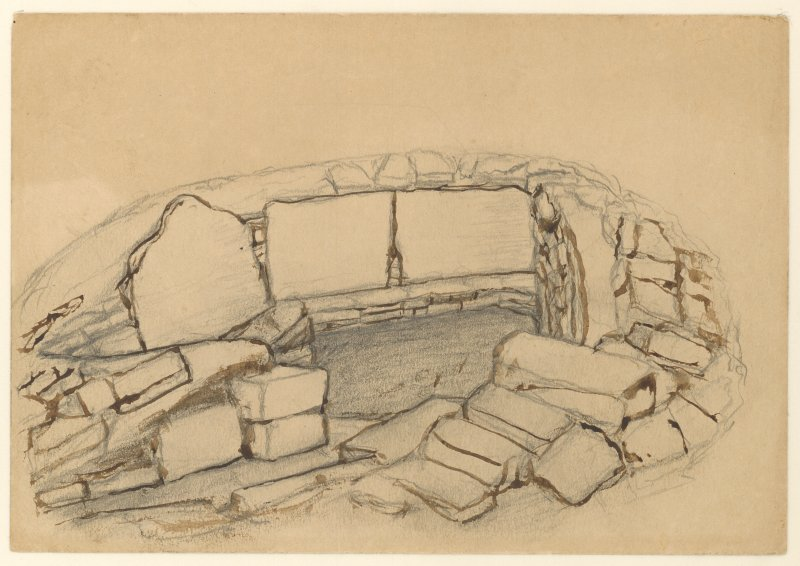 Drawing of Kirkstones broch, with a shield and a sketched plan of broch on reverse side