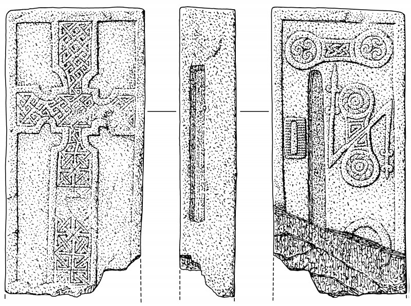 Scan of ink drawing of Monifieth 1 Pictish cross slab
