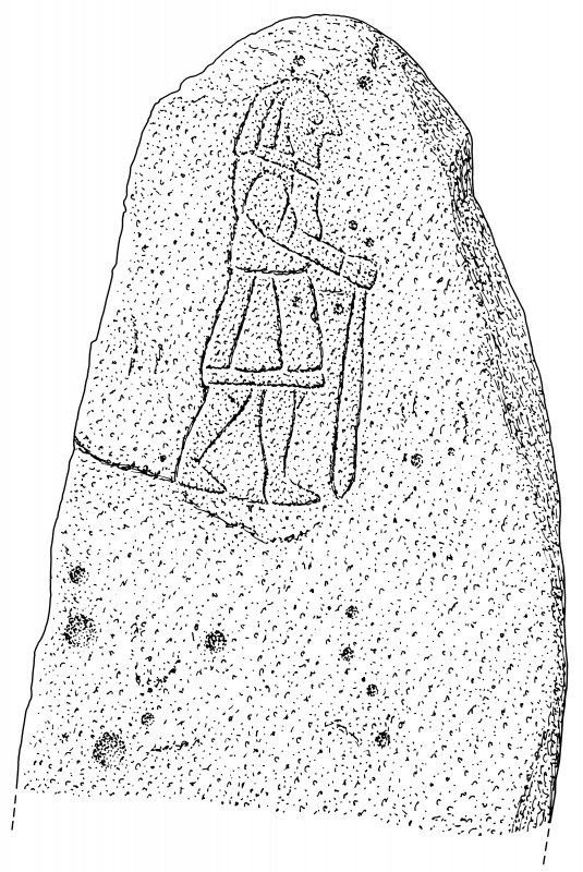 Scanned ink drawing of Pictish symbol stone at Balblair