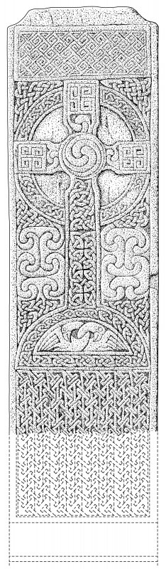 Scanned ink drawing of Farr Pictish cross slab