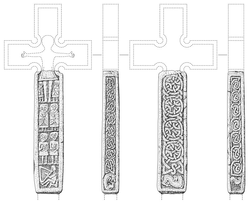 Scanned ink drawings (DC 60630 & 60631) of Monifieth 4 freestanding cross fragment faces a, b, c & d