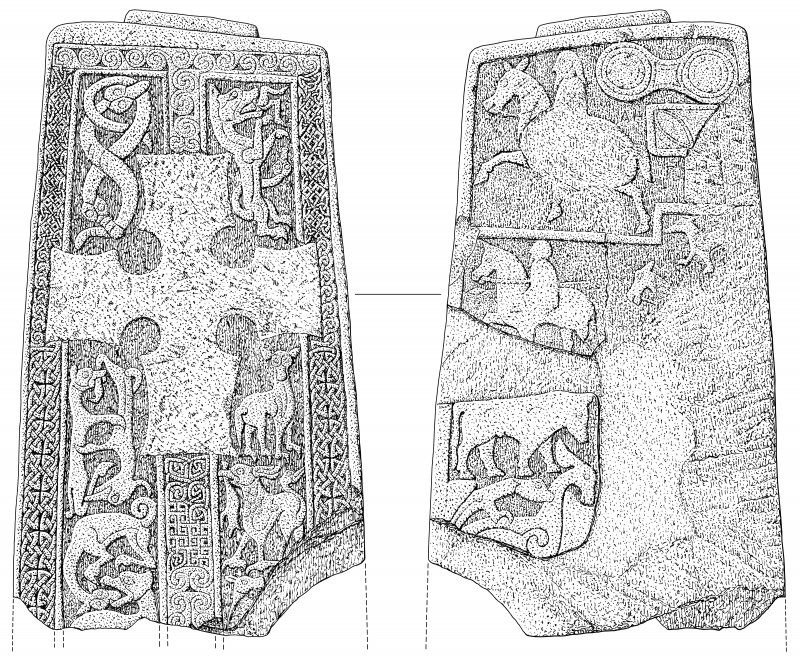 Scanned ink drawing of Woodrae Pictish cross slab face a & b (DC60618 & 60620)