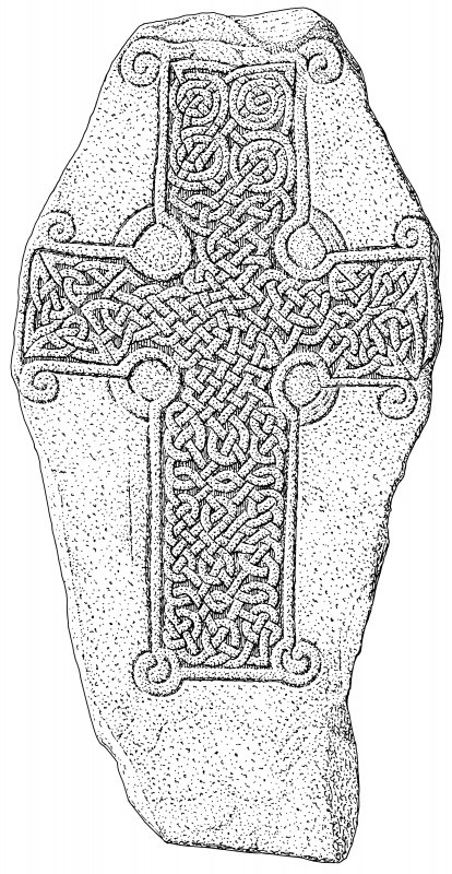Scanned ink drawing of Loch Kinord Pictish cross slab