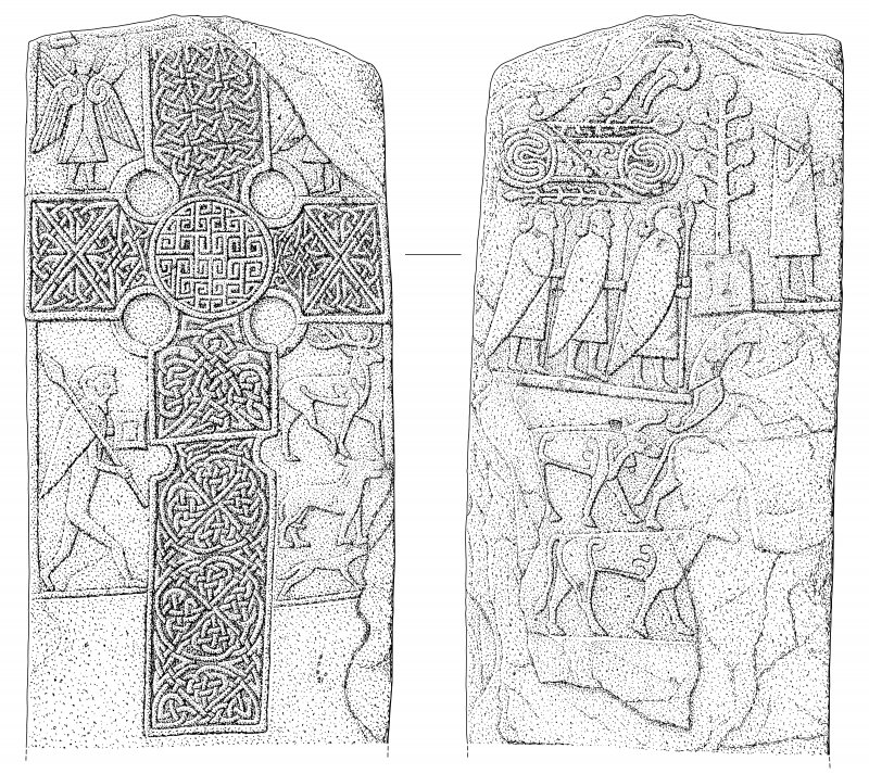 Scanned ink drawing of Eassie Pictish cross slab face a & b (DC60612 & 60614)