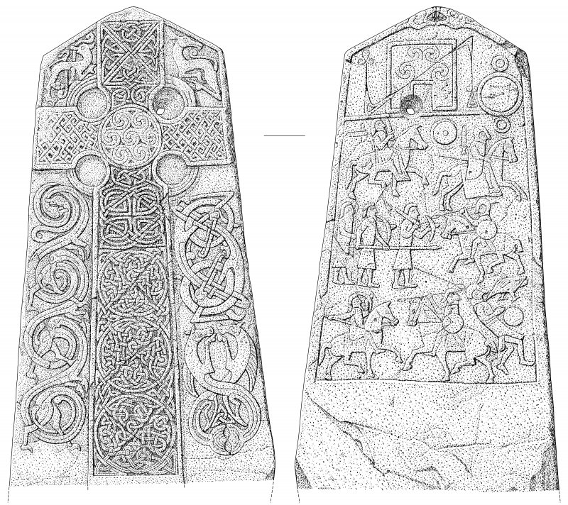 Scanned ink drawing of Aberlemno 2 Pictish cross slab face a & b (DC60606 & 60608)