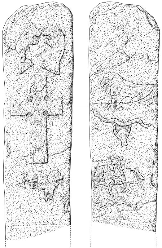 Scanned ink drawing of The Battle Stone, Mortlach Pictish cross slab face a & b